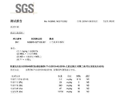 EN71-3 SGS 检测报告