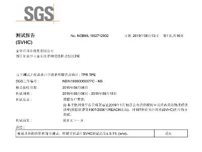 REACH(SVHC) SGS检测报告